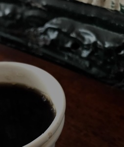 A cup of coffee on the counter in Brooklyn